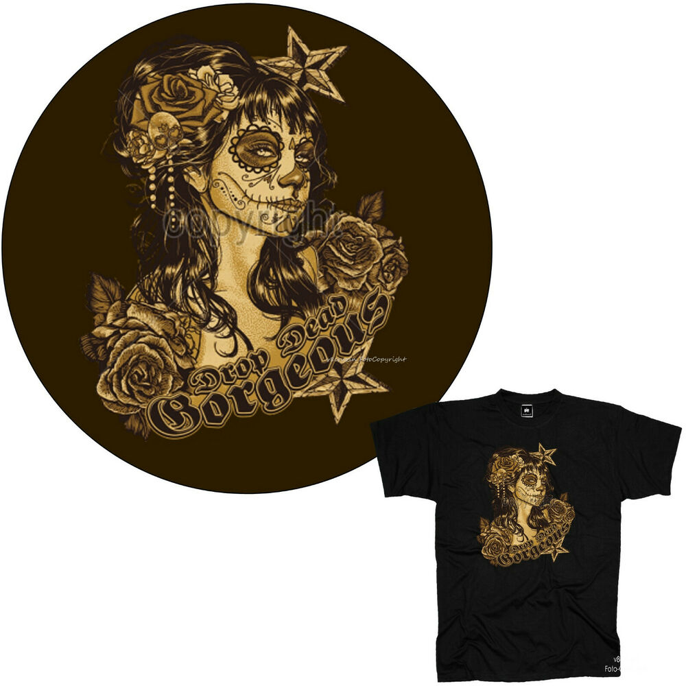 Dias de los muertos mexican style tattoo flash gothic t for Mexican style tattoos