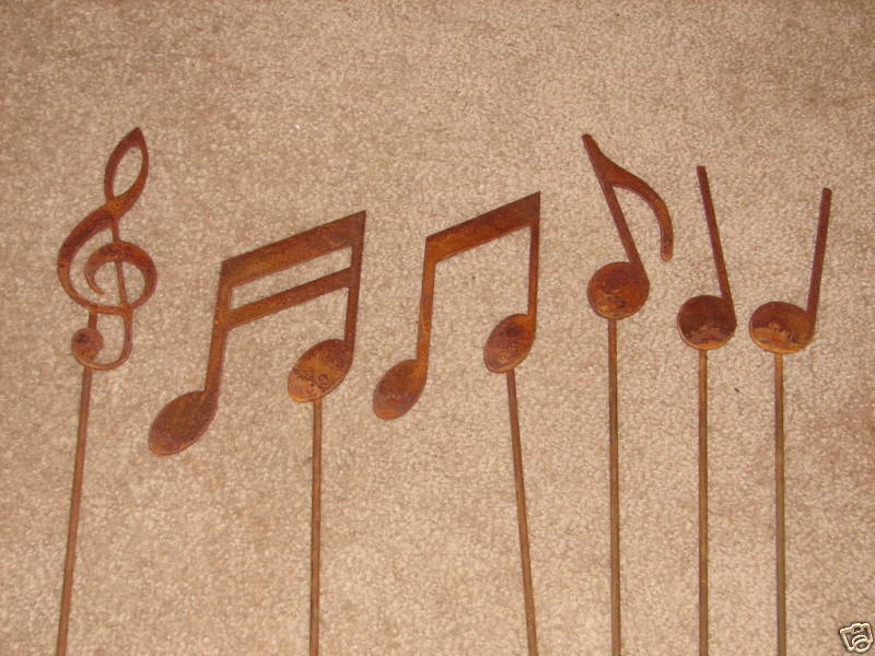 Metal Musical Note Garden Stakes Set Yard Decor Music Ebay