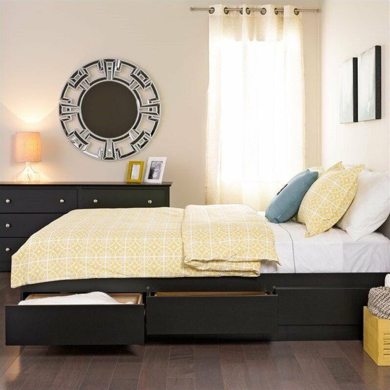 prepac sonoma black queen platform storage bed with drawers wrought iron beds ebay. Black Bedroom Furniture Sets. Home Design Ideas