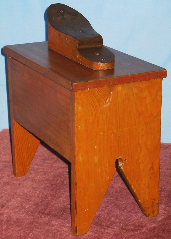 Antique Lift Top Shoe Shine Stand Iron Wood Foot Rest Ebay