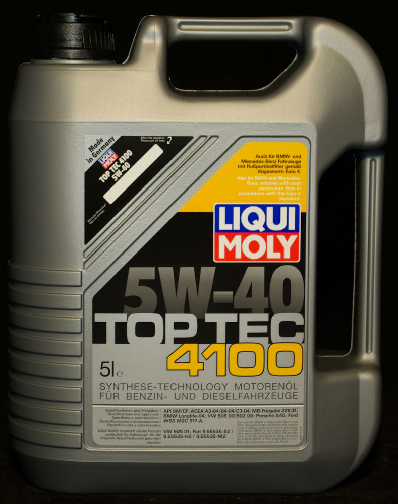 5 liter liqui moly top tec 4100 5w 40 motor l 5w40 bmw vw. Black Bedroom Furniture Sets. Home Design Ideas