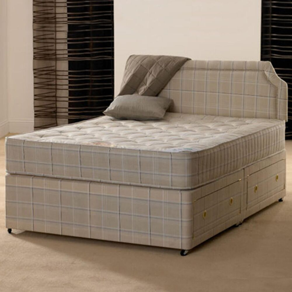4ft 6 double paris orthopaedic divan bed with mattress ebay for Divan and mattress