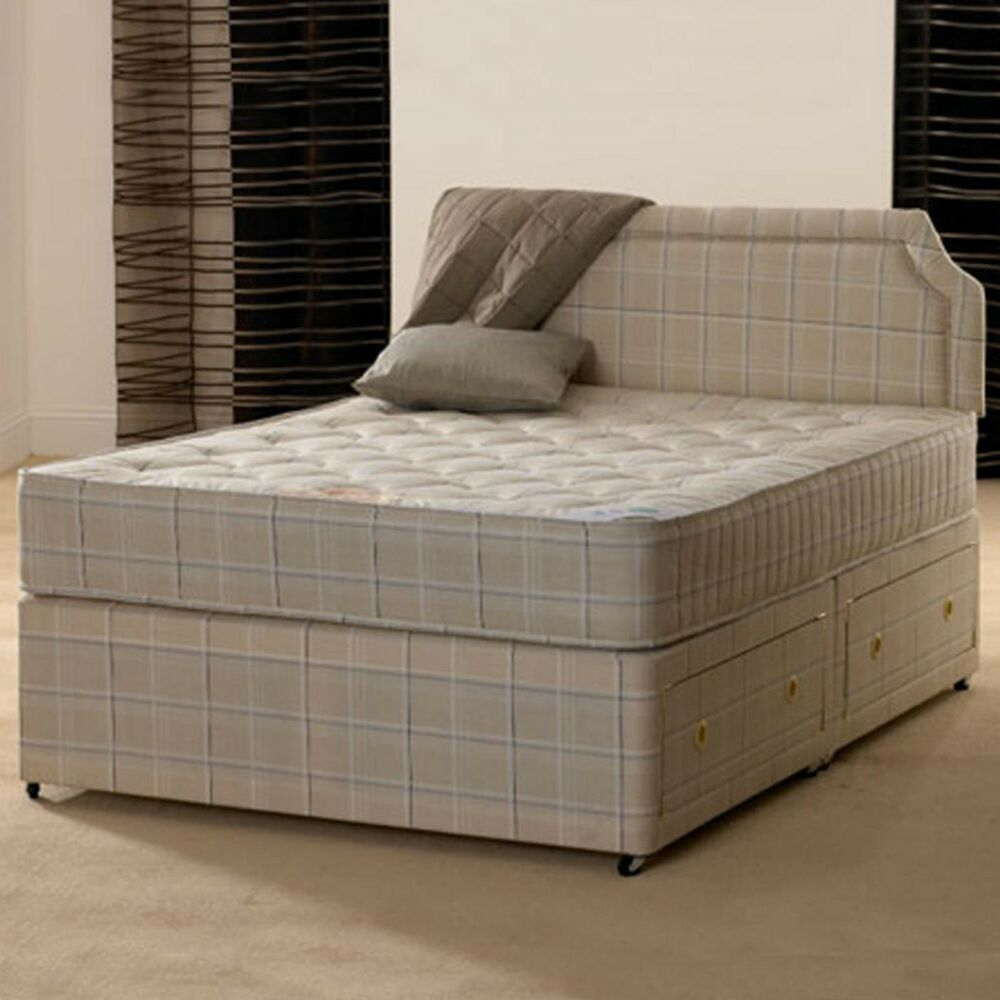 4ft 6 double paris orthopaedic divan bed with mattress ebay for Double divan