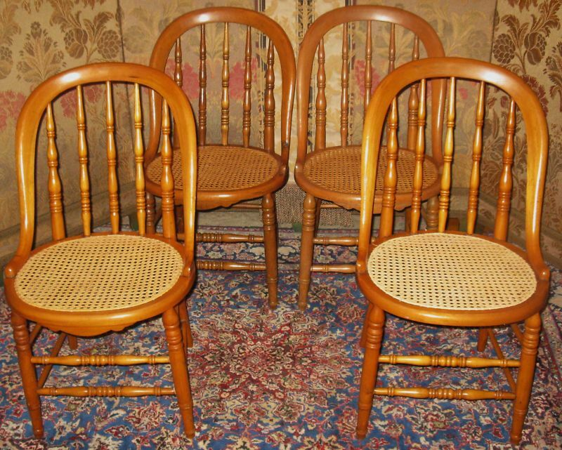 ANTIQUE VICTORIAN MAPLE BOWBACK DINING CHAIRS CANED 4 EBay