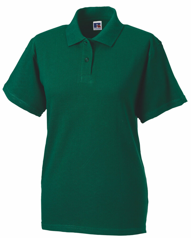 Russell Bottle Forest Green Cotton Pique Ladies Polo Golf