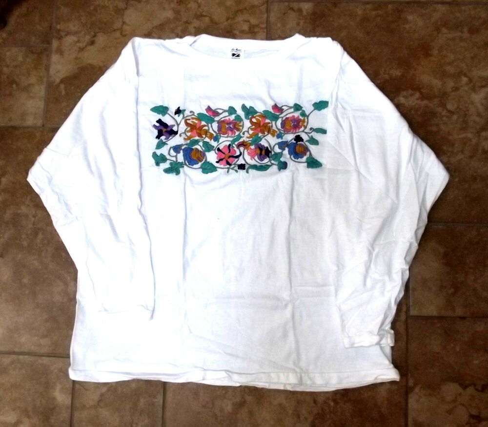 Guatemalan white and black shirts hand embroidered ebay for How to embroider a shirt