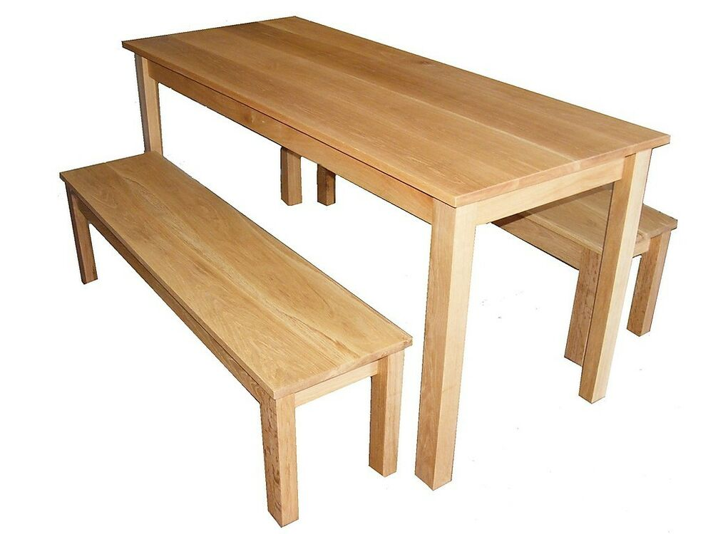 Handmade bespoke set solid oak dining or breakfast table for Table and bench set