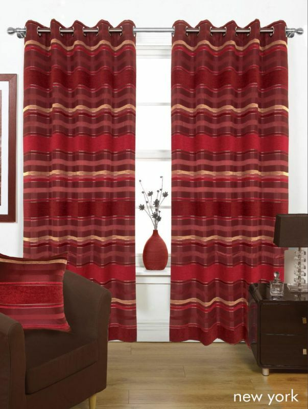 Red Burgundy THICK HEAVY Lined EYELET Curtains 3 Sizes | eBay