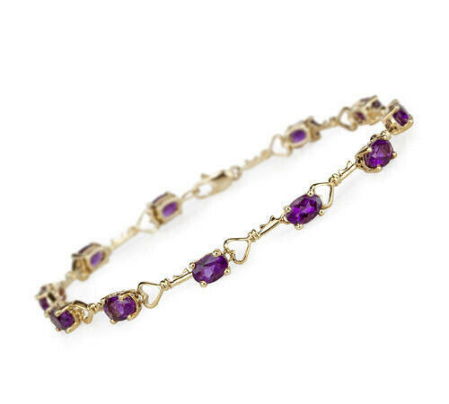 Bracelet With Hearts: Delicate Amethyst Hearts Bracelet With 14k Yellow Gold