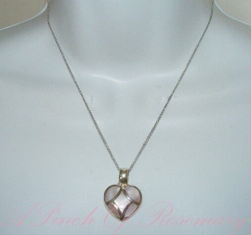 Vintage Sterling Silver Necklace Light Pink Mosaic Mother