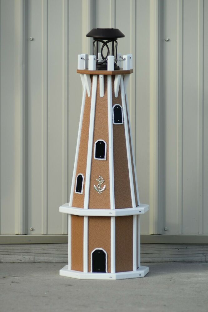32 Quot Octagon Solar Powered Poly Lighthouse Carmel White