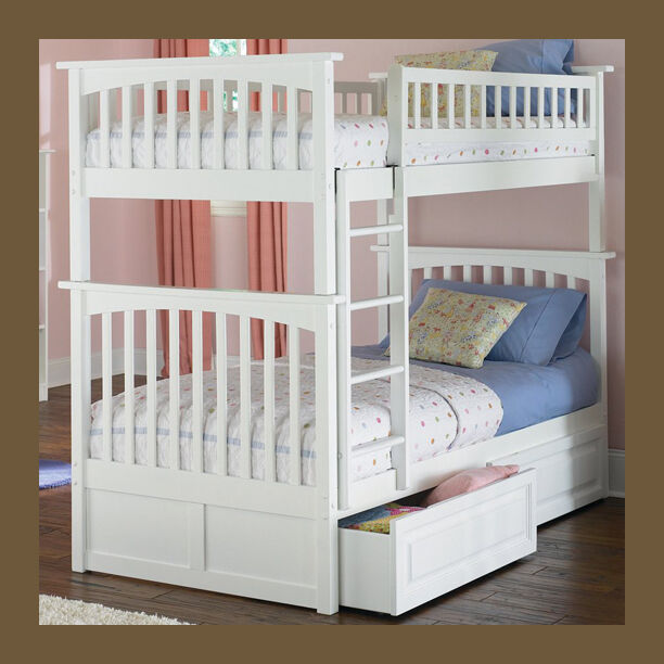 Girls twin over twin bunk bed white optional underbed for Girls white twin bed