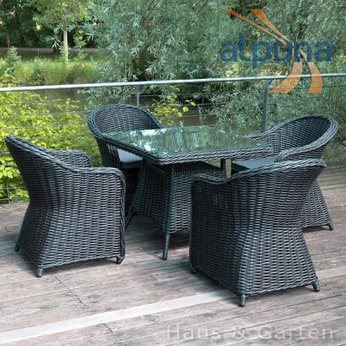esstischgarnitur poly rattan gartenm bel sitzgruppe polyrattan rundfaser ebay. Black Bedroom Furniture Sets. Home Design Ideas