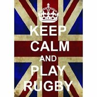 P2526 KEEP CALM PLAY RUGBY FUN UNION JACK POSTER