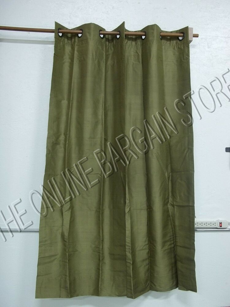 1 Pottery Barn Silk Grommet Dupioni Lined Curtains Drapes Panels 50x63 Lichen Ebay