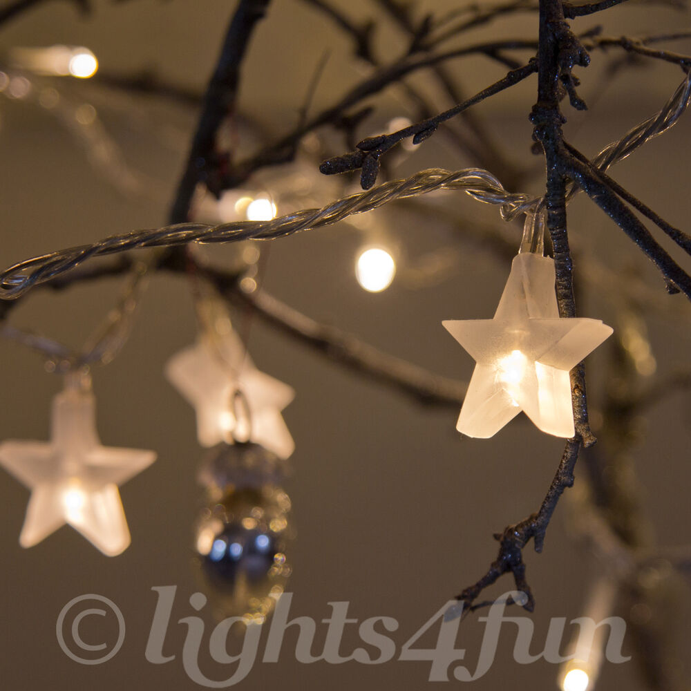 White String Christmas Lights Led : Star Fairy Lights 30 Warm White LED Indoor Bedroom Christmas String Lights eBay