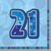 16 3Ply Blue and Silver 21st Birthday Party Napkins