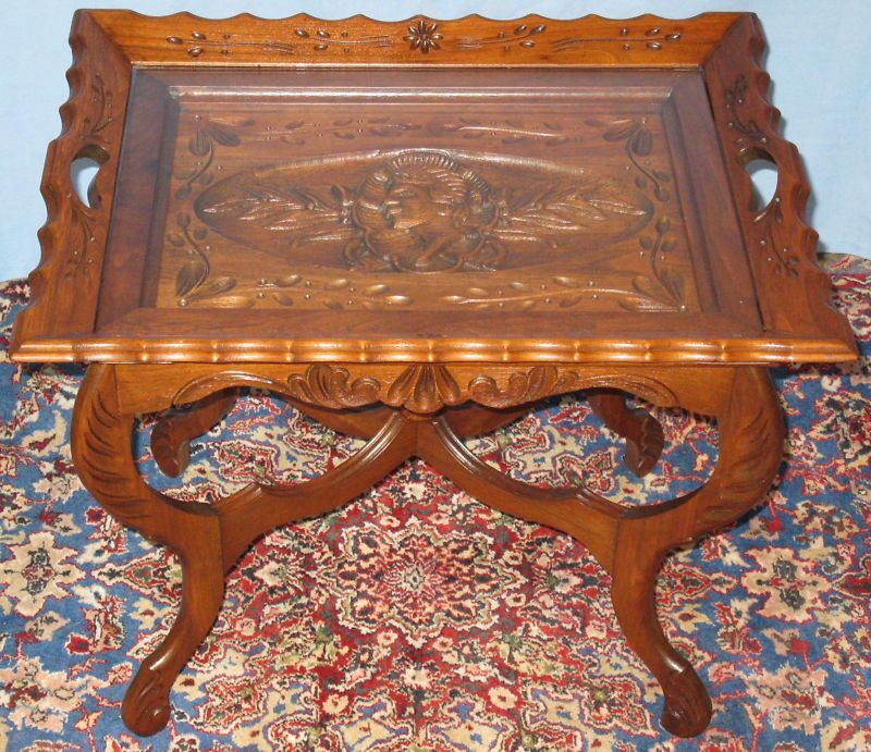 Vintage solid walnut sofa coffee table carved female ebay for Sofa coffee table