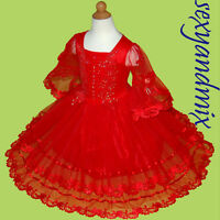 USMD39 Red Costumes Charistmas Easter Baby Kids Girls Dress 1,2,3,4,5,6,7,8Yrs