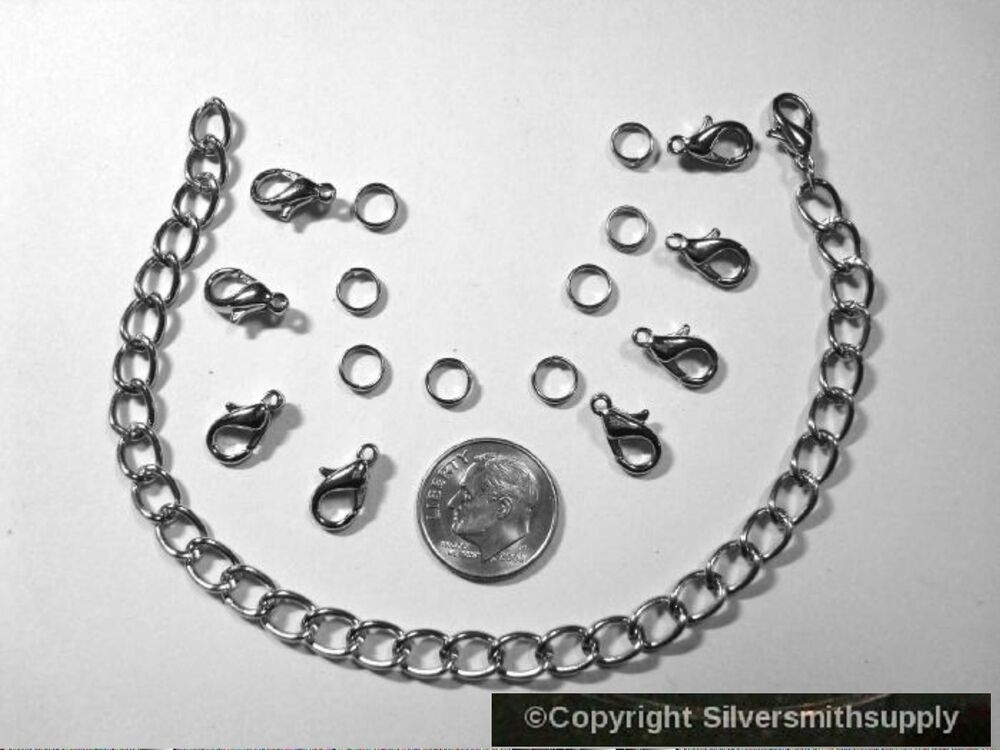 silver color white gold plated 8 charm bracelet jewelry