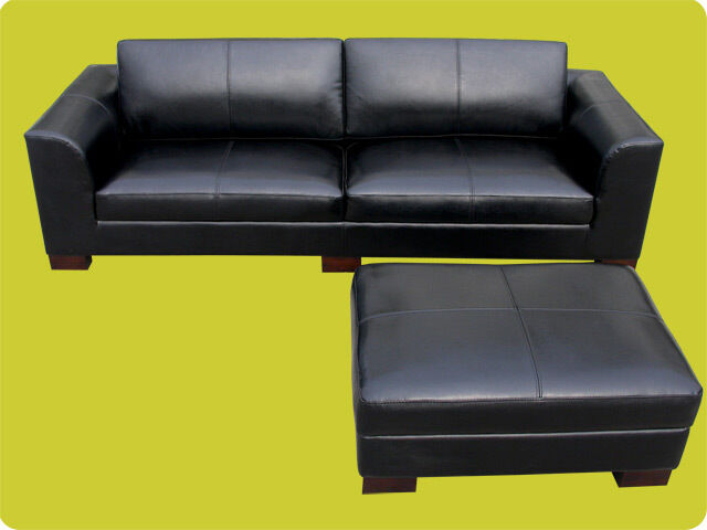 modern black leather sofa ottoman set couch furniture ebay