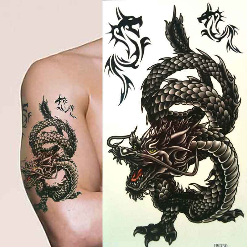 Large mens boys angry black chinese dragon temporary for Black temporary tattoo
