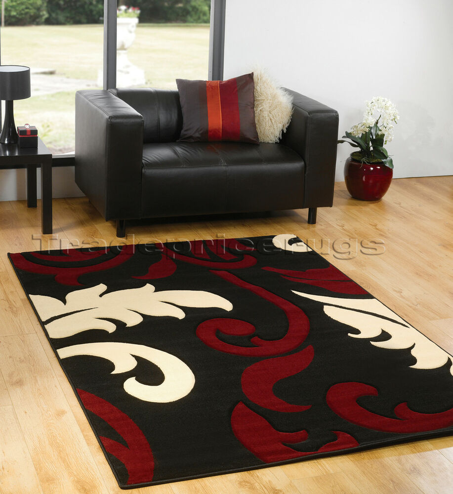 Large black dark red cream modern damask rug 160x230 ebay for Cream and red rugs