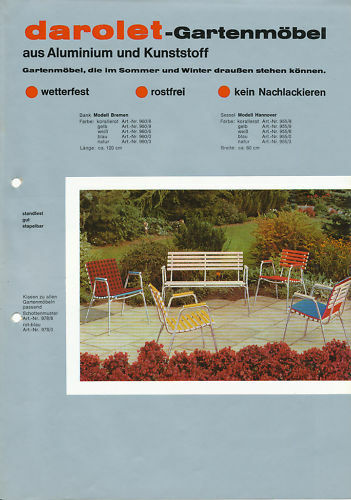 darolet gartenm bel prospekt 1969 brochure m bel werbung reklame deutschland ebay. Black Bedroom Furniture Sets. Home Design Ideas