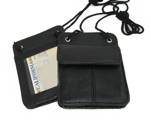 2 Leather Id Card Holder Neck Strap Pouch Travel Pouch