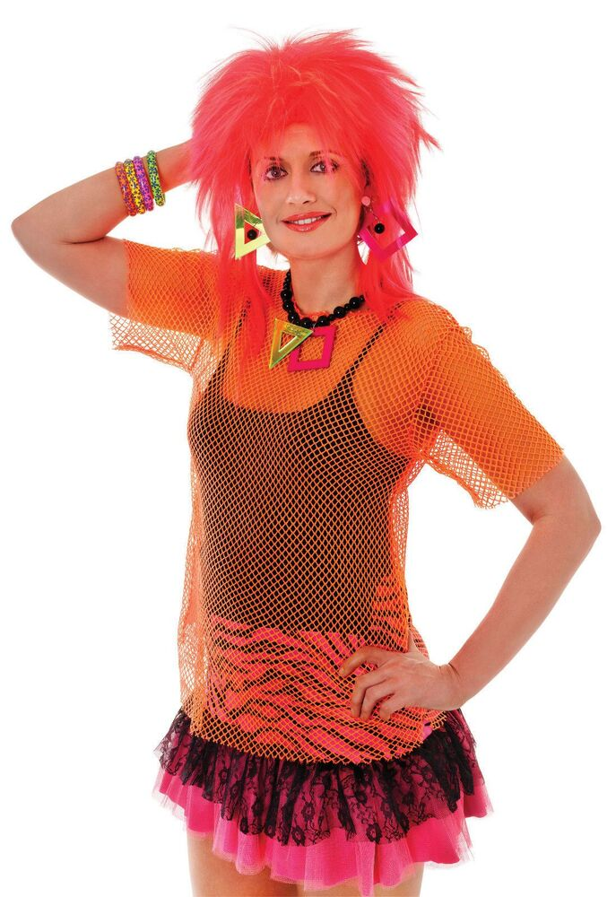Ladies 80s Orange Clubbing Rave Neon Fishnet Mesh Top Shirt Fancy Dress Costume | eBay