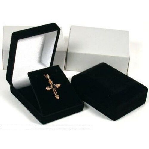 2 High Quality Black Velvet Necklace Pendant Gift Box Case