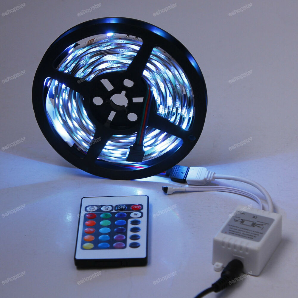 5m 5050 smd dj strip lights 150 led rgb 24 ir remote car. Black Bedroom Furniture Sets. Home Design Ideas