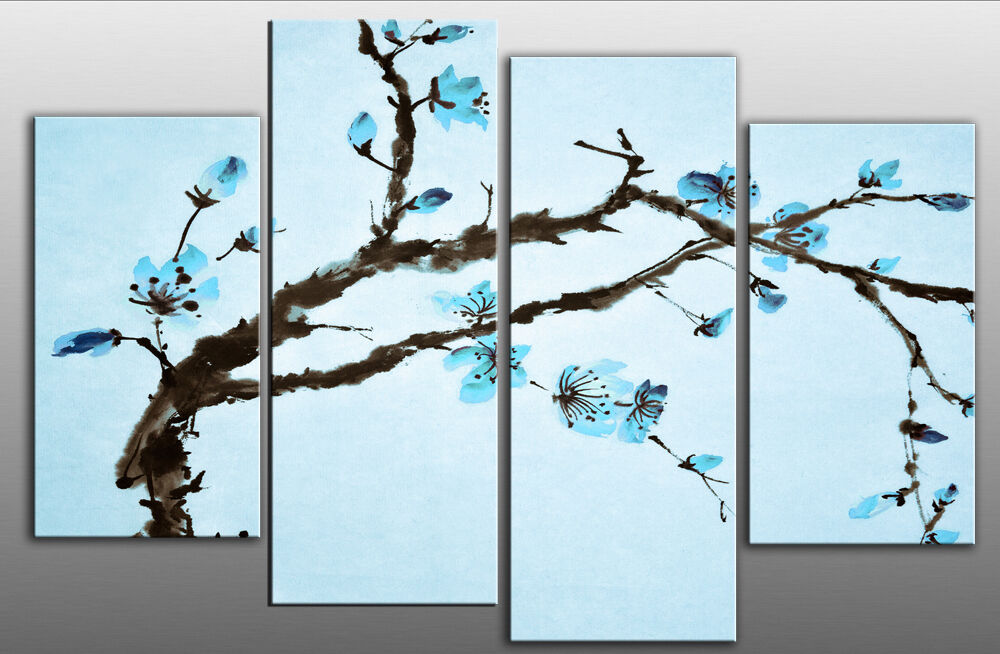 Large blue chinese floral canvas picture wall art blossom for What is wall decor