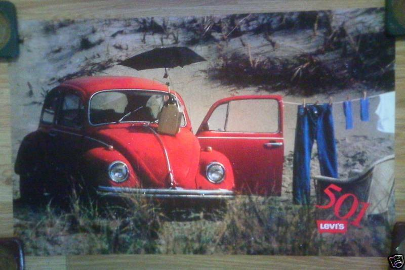 Levi's Levi Strauss 501 Jeans Advertising Poster Red Volkswagen VW Bug Beetle | eBay
