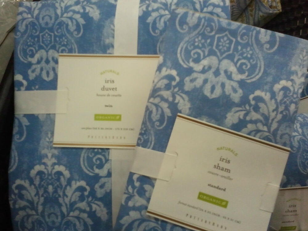 Pottery Barn Iris Flower Floral Duvet Cover Twin W 1