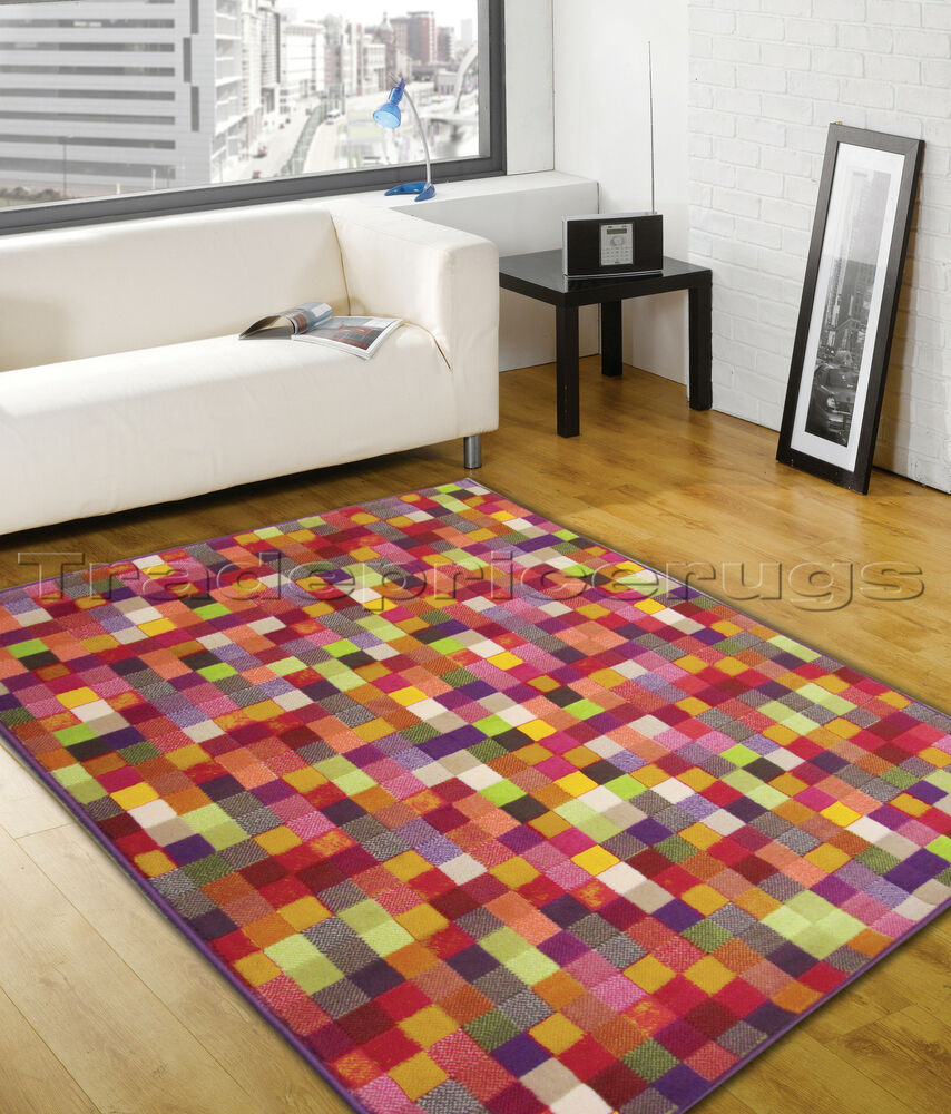 Small Large Pink Rug Cerise Runners Sparkle Modern Thick: LARGE VIBRANT RED ORANGE GREEN BLUE PINK PATCHWORK FUNKY