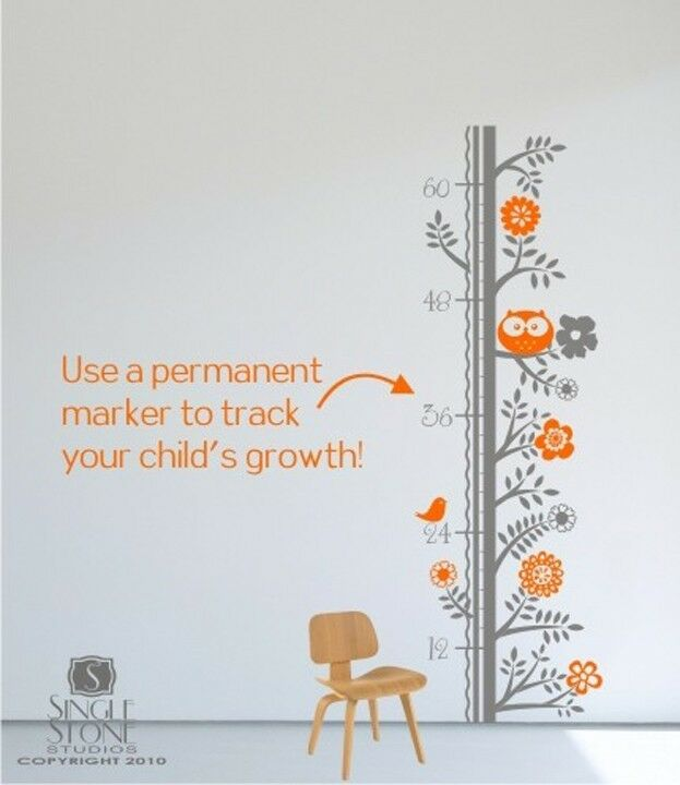 Wall decals growth chart woodland nursery vinyl wall for Nursery charts