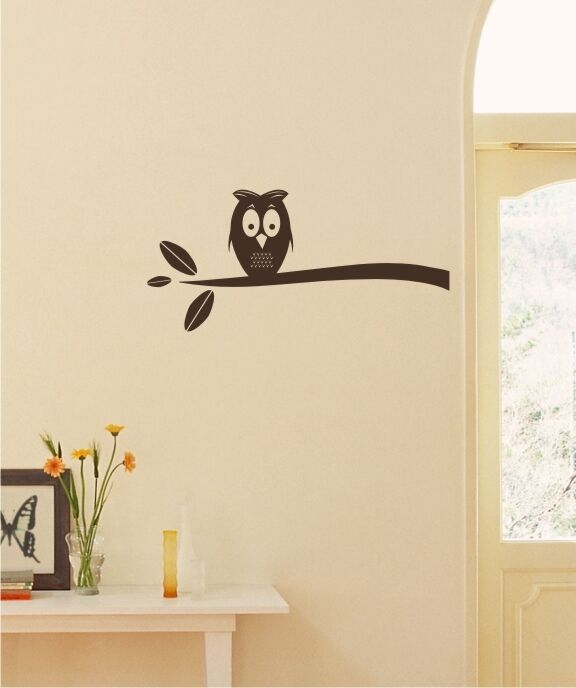 Owl wall decal on branch wall pattern vinyl stickers art for Advanced molding and decoration s a de c v
