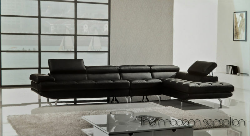 Modern Euro Leather Sectional Sofa Chaise Chair Set With