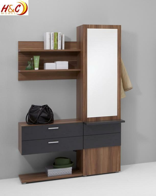 wandgarderobe garderobe schrank mit spiegel mod g122 nussbaum anthrazit ebay. Black Bedroom Furniture Sets. Home Design Ideas