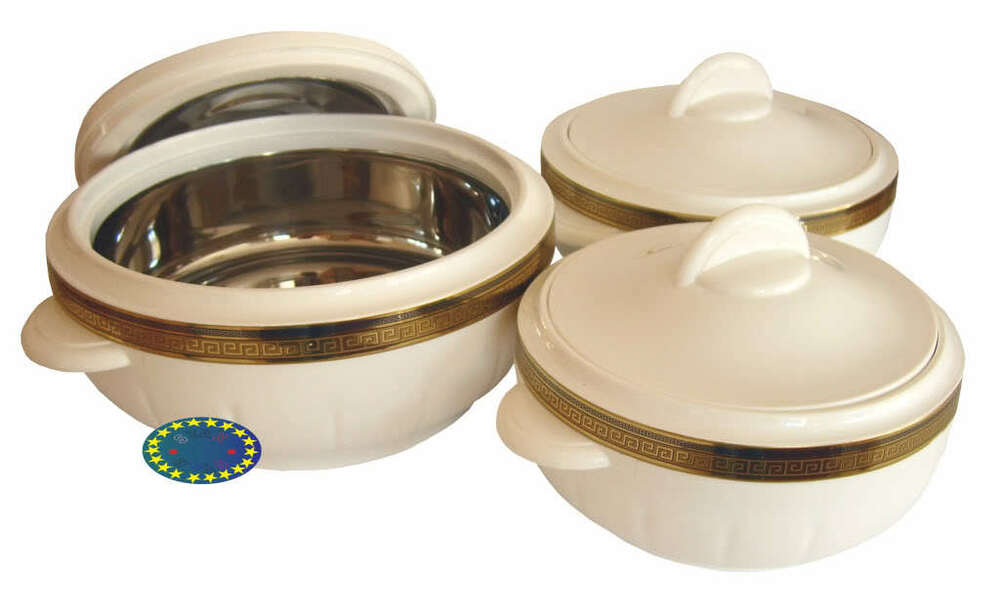 Insulated Food Warmers ~ White classic hot food serving storage round insulated