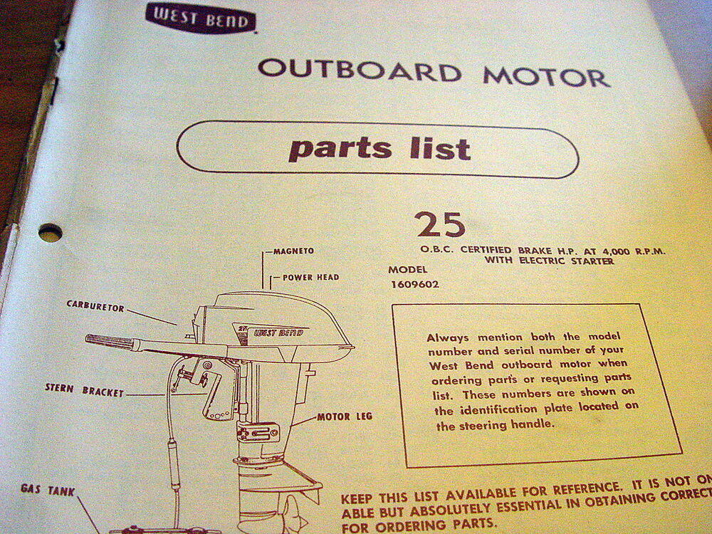 West Bend 25 Hp 25hp Outboard Motor Parts Manual Catalog