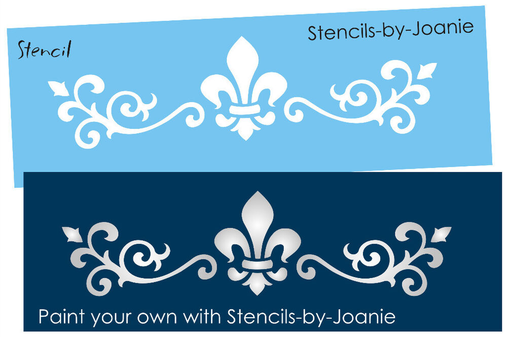 Scroll fleur stencil shabby french chic border design - Border stencils for painting ...
