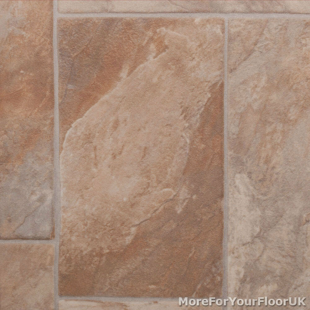 Beige random tile vinyl flooring slip resistant lino 3m for Vinyl cushion flooring for kitchens