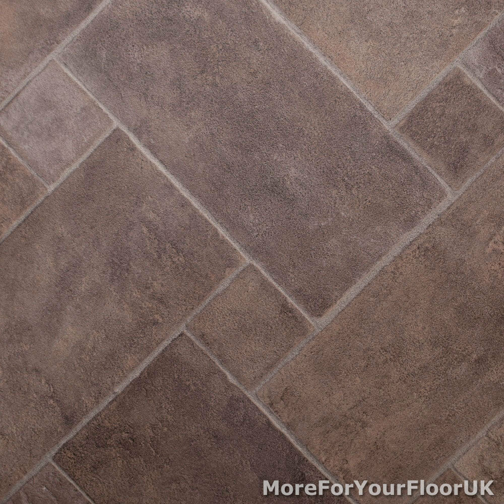 3 8mm Thick Vinyl Flooring Diamond Rectangle Brown Tile