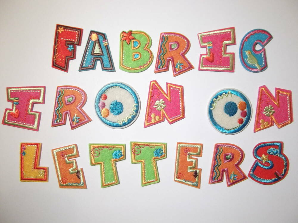 Fabric iron on letters embroidered applique motif on for Embroidered alphabet letters