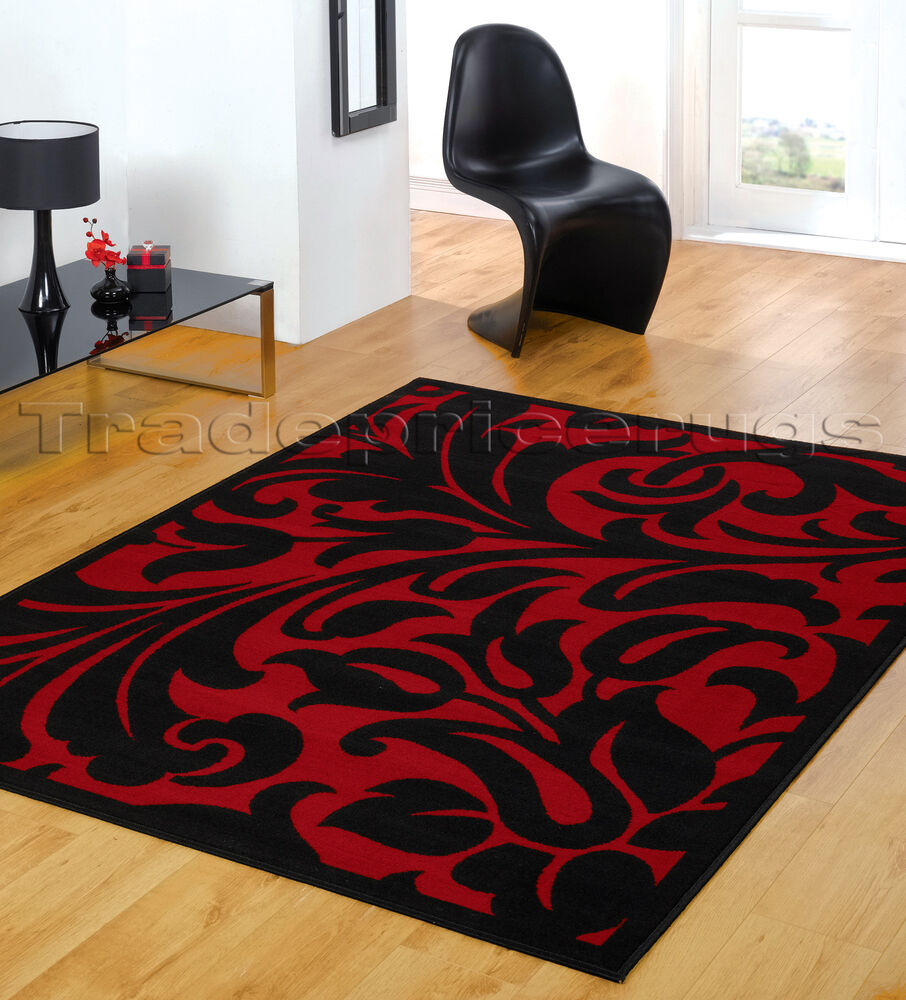 EXTRA LARGE BLACK & RED MODERN DAMASK AREA FLOOR