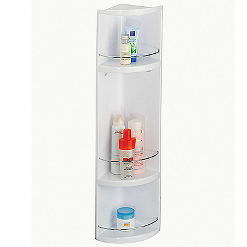 corner wall hung 3 tier plastic bathroom storage unit cabinet ebay