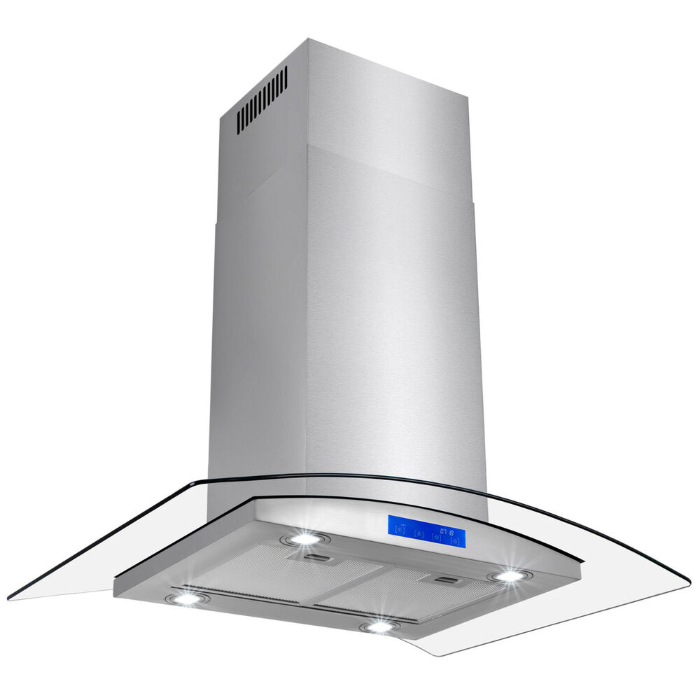 Stove Vent Hoods ~ New quot island stainless steel glass range hood stove