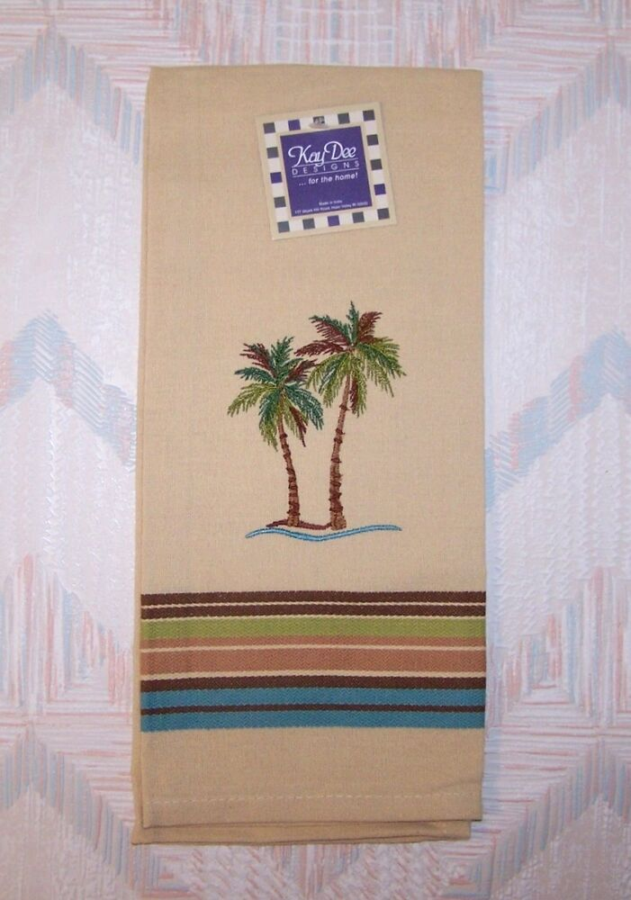 palm trees tea towel palm tree embroidery pattern kay dee ebay. Black Bedroom Furniture Sets. Home Design Ideas